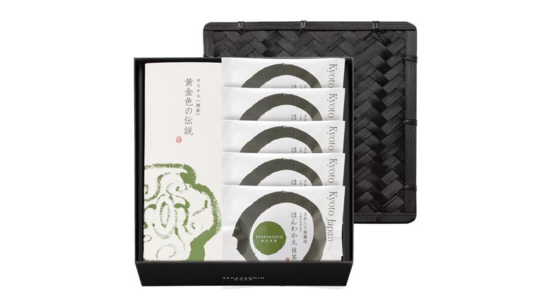 黄金色の伝説(カステラ/抹茶)1本/ほんわか丸(どら焼き)抹茶5個の詰め合わせ