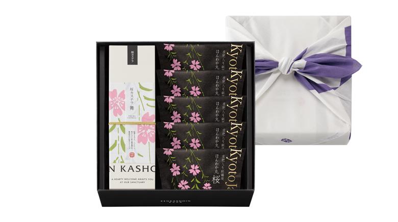桜カステラ 舞1本/ほんわか丸(どら焼き)桜5個の詰め合わせ(風呂敷包み)
